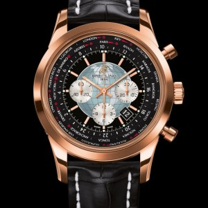 Montre Breitling Transocean version Red Gold avec bracelet en croco