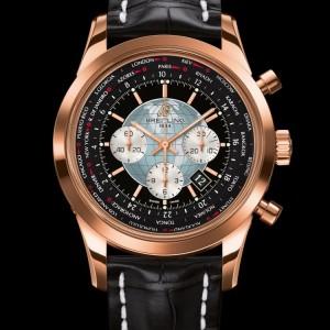 Montre Breitling Transocean version Red Gold avec bracelet en croco
